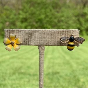 Jewelry - Bumblebee & Flower Mismatched Stud Earrings